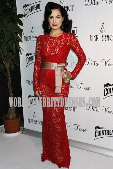 10 besten Dita Von Teese Red Mermaid Celebrity prom Dresses Heart ...
