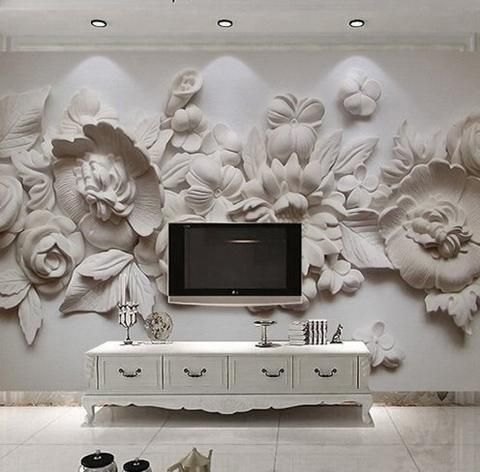 3D Relief European Style Gray Flowers Wallpaper Stereoscopic Photo Mural