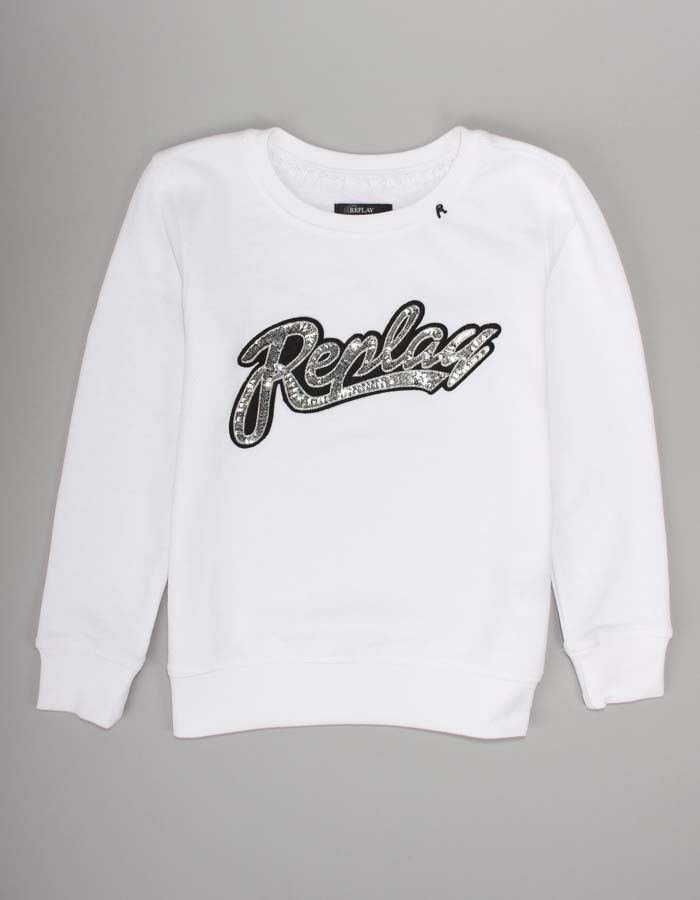Replay White Sequin Logo Sweatshirt | Accent Clothing