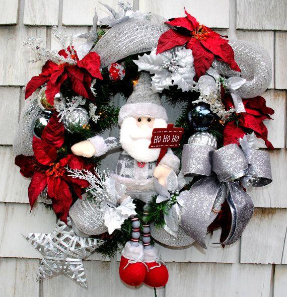 Christmas Wreath for the Door Santa Ho Ho Ho by TisTheSeasonDesign, $69.99