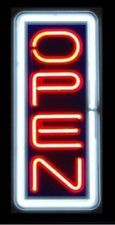 VERTICAL NEON Open Sign store business bright display led large big Red White