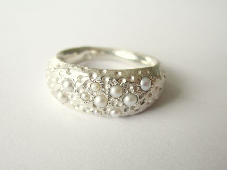 sterling silver and seed pearl ring, made by jennifer laracy