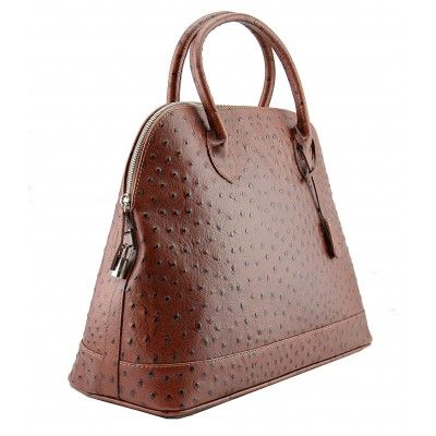 Italian Made, Genuine Leather Handbag - Linda Brown Sky