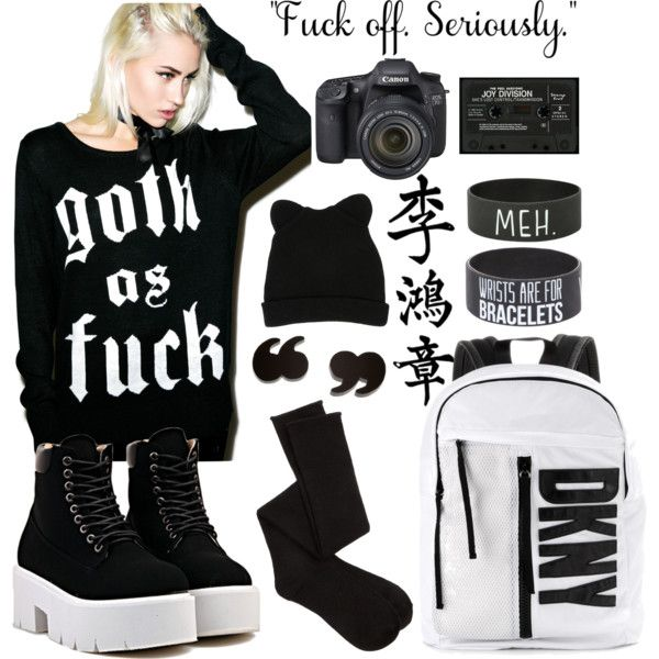 ulzzang by k-oni on Polyvore featuring мода, Kill Star, Charlotte Russe, DKNY, George J. Love and Eos
