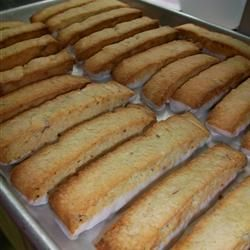 Anise Biscotti Recipe - the best biscotti I've made so far! Of course I dip them in chocolate on one end and roll it in crushed almonds!