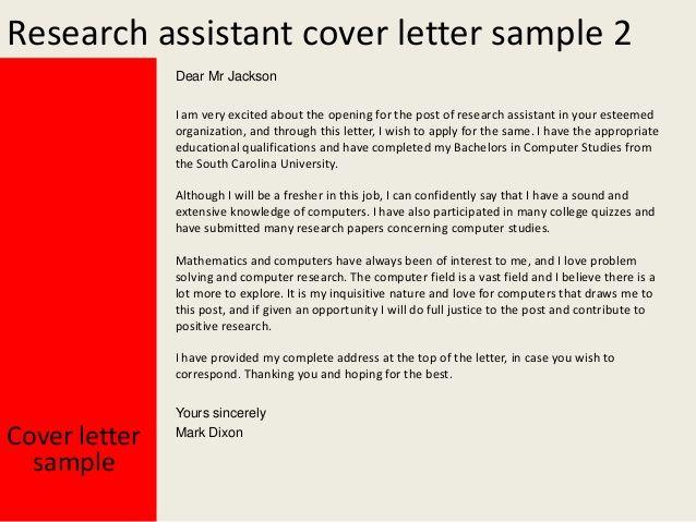 Más de 25 ideas únicas sobre Research assistant en Pinterest Las - cover letter biology