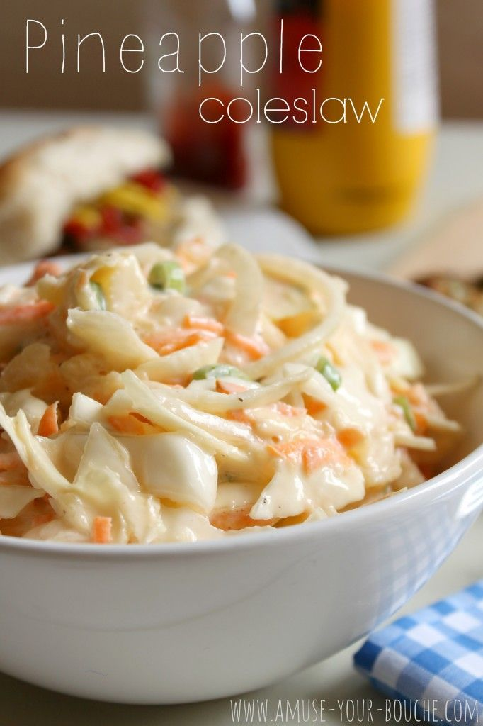 Pineapple coleslaw with cabbage, onion, carrot,  crushed pineapple and light mayonnaise.