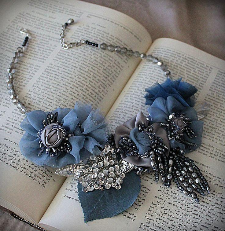 JEAN Blue Silver Mixtas textil .Collar llamativo carlafoxdesign