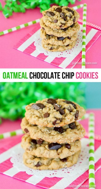 Oatmeal Chocolate Chip Cookie Recipe. Nothing better than an oatmeal ...