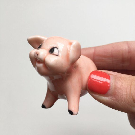 Tiny Ceramic Pig Little Pink Pottery Piglet Miniature Collectible Kitsch Curio Cabinet Cartoon Pig Grandma S Attic Pottery Ceramics Vintage Items