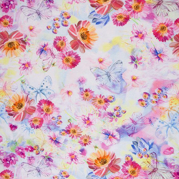 Bavlněný úplet teplákovina barevné květy