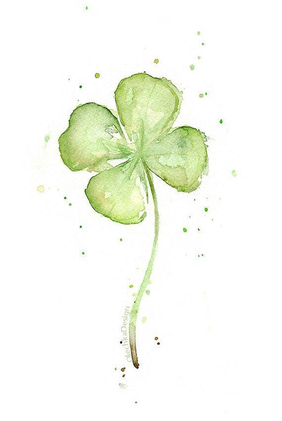 Four Leaf Clover Art Print, Clover Watercolor Painting, Plants, St Patrick's, Lucky Charm, Clover Painting, Abstract Clover, Clover Wall Art