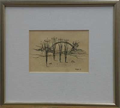 Marie Čermínová – Toyen | Abstraktní krajina, 1937 | tuš, papír, 73,5 x 49,5 cm