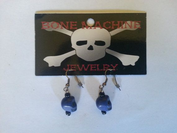 Navy Blue Howlite Skull Earings by BoneMachineJewelry on Etsy, $7.50
