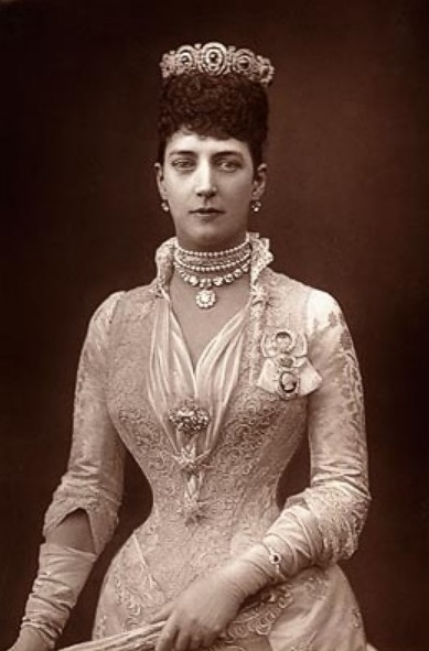 Princess Alexandra of Denmark in 1889 (Alexandra Caroline Marie Charlotte Louise Julia; 1 December 1844 – 20 November 1925) was Queen of the United Kingdom of Great Britain and Ireland and Empress of India as the wife of King-Emperor Edward VII.