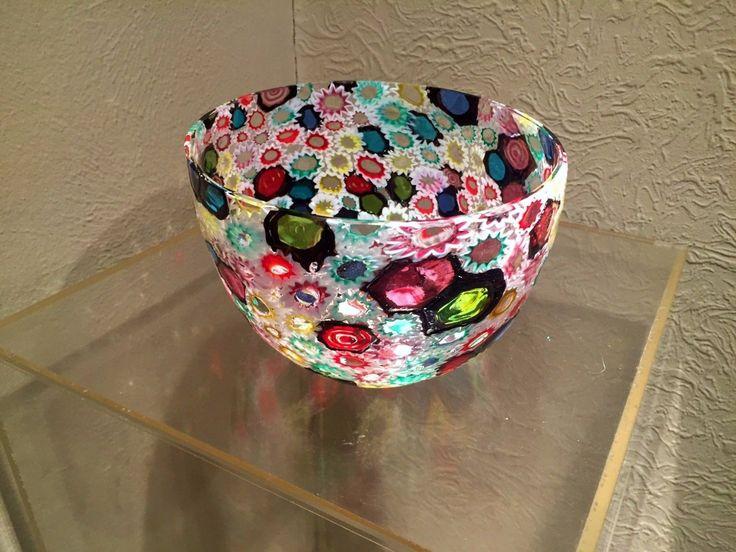 Large MCM Murano Fratelli Toso Italian Colorful Mosaic Murrines Art Glass Bowl 5 • EUR 318,83