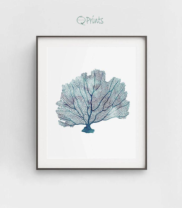 Coral Art Print, Blue Coral Printable, Digital Coral, Navy Blue, DIY Wall Art, Large Wall Print, Sea Room Wall Décor, Bathroom Décor, Gift by QPrints on Etsy