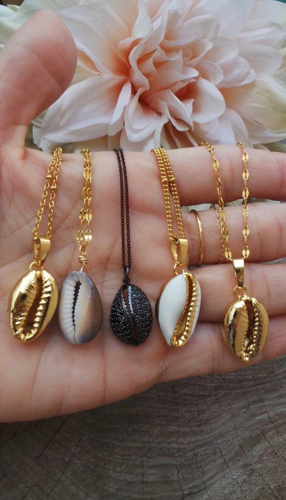 Dainty Gold shell necklace Cowrie Shell Necklace bridesmaid gift Silver shell necklace Seashell necklace tropical necklace small shell