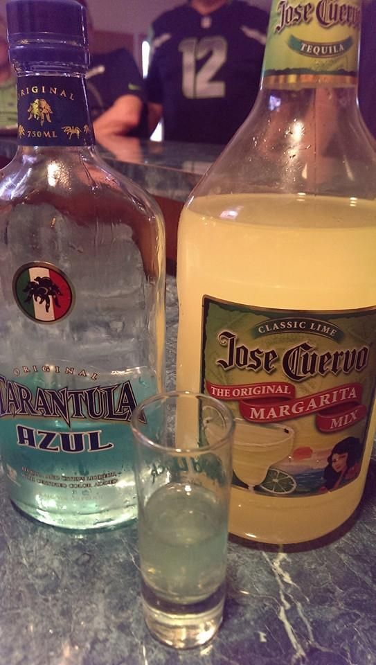 Hawker Shockers! One shot each time the Seattle Seahawks score! 2 parts Tarantula Tequila / one part Margarita mixer.