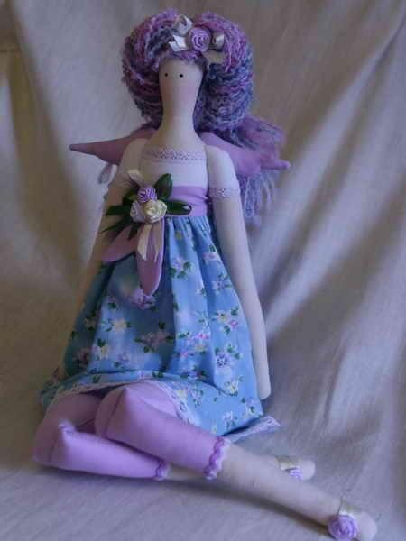 Куклы Тильды ручной работы. Ярмарка Мастеров - ручная работа Тильда Цветочный ангел (голубой). Handmade.