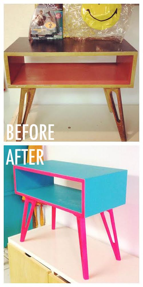 refinished mid century modern side table