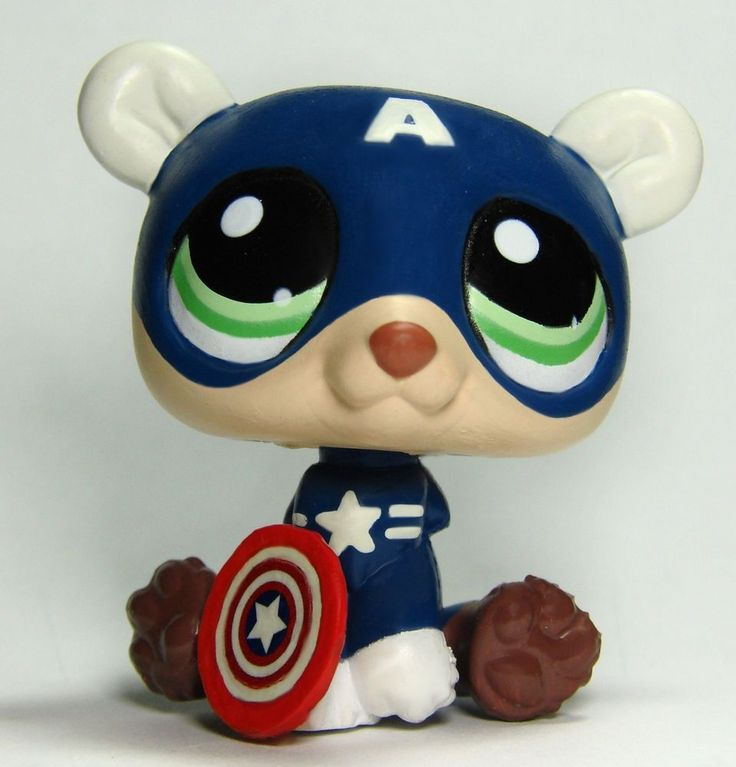 Littlest Pet Shop Avengers Captain America Superhero Custom Figure LPS OOAK  #Hasbro