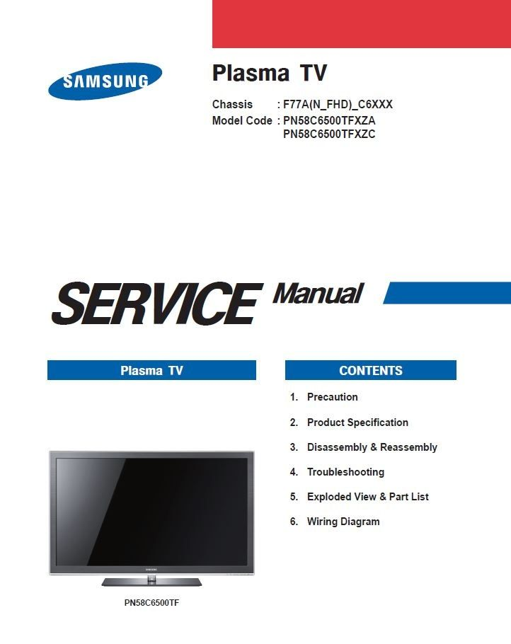 Samsung Pn58c6500 Pn58c6500tf Plasma Tv Service Manual And Repair Instructions Tv Services Manual Samsung