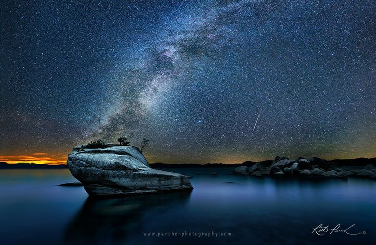Meteor and Milky Way Over Bonsai Rock, Lake Tahoe by Rick Parchen on 500px