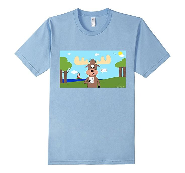 Men's Moose Mousse Pun - A Frayed Knot - American Apparel Slim Fit Tee - Available in youth and adult sizes, multiple colors to pick from! Cartoon by artist Keith Nunes.