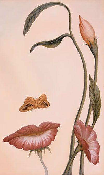 """Mouth of Flower"" - Octavio Ocampo {contemporary artist surrealism nature illusory female portrait cropped detail illustration}"
