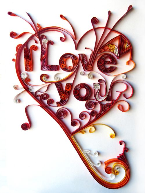 Type swirls: Iloveyou, Papercraft, Heart, I Love You, Paper Art, Valentines Day, Paperart, Paper Quilling, Paper Crafts