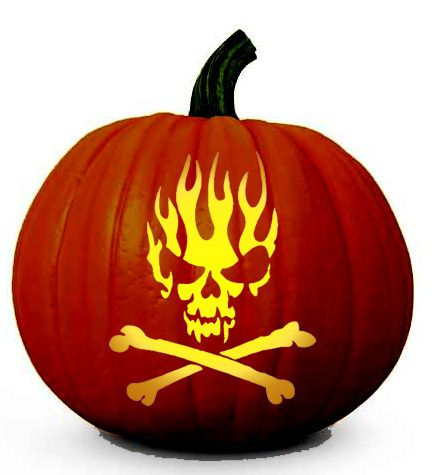 Skull on Flames - Free Scary Halloween Pumpkin Carving Patterns - Printable Stencil
