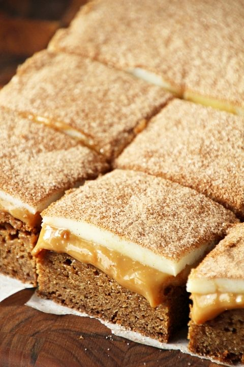 Dulce de Leche Snickerdoodle Bars ~ Chewy Snickerdoodle Crust topped ...