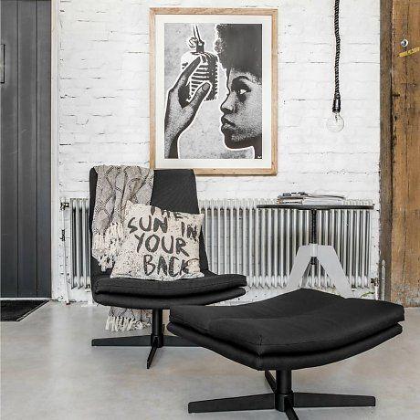 HK-living Stoel loft lounge zwart 62x80x86cm