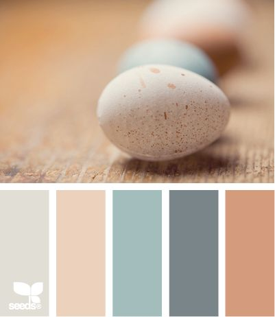 Egg Tones: Tawny Green, Faded Coral, Pale Turquoise, Dusty Blue and Terra Cotta Orange