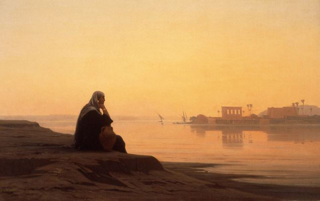 "Louis-Auguste Veillon: ""Le Nil à Philae"" (The Nile at Philae), 1869, oil on canvas, Dimensions: 62 × 100 cm (24.4 × 39.4 in), Current location: Museum of Art and History, Geneva."