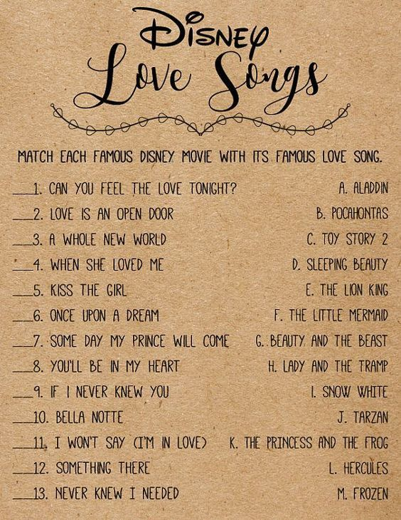 Disney Love Songs Bridal Shower Games . Printable Instant Download . Rustic, Kraft, Funny, Fun, Country, Boho, Bridal Shower Games