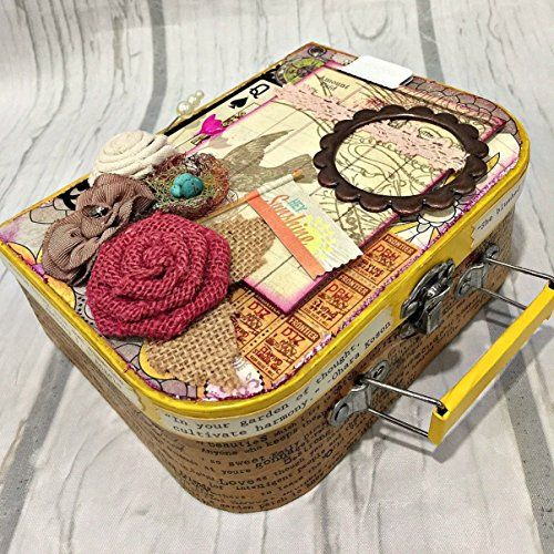 Chipboard Mini Album in Suitcase Holder Cover All in One Scrapbook album scrapbooking ** Check out this great product. (Amazon affiliate link)