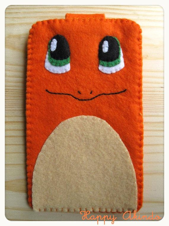 Charmander Pokemon felt phone case with velcro clousure