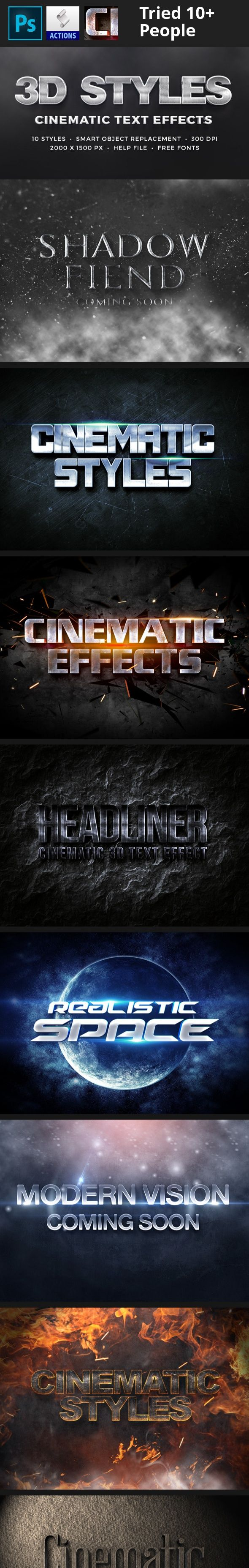 3d, 3d effect, 3d generator, 3d logo mock up, 3d mock up, 3d styles, 3d text, 3d text style, add one, cinema, cinematic, film, film actions, film text, film title, grunge, intro text styles, layer styles, metal text, movie, photorealistic, photoshop 3d effect, photoshop 3d style, realistic, retro, stone, text actions, text styles, typography, vintage Featurs      10 Fully layered PSDs     Background textures included     Smart object replacement     Super easy to edit text and elements…
