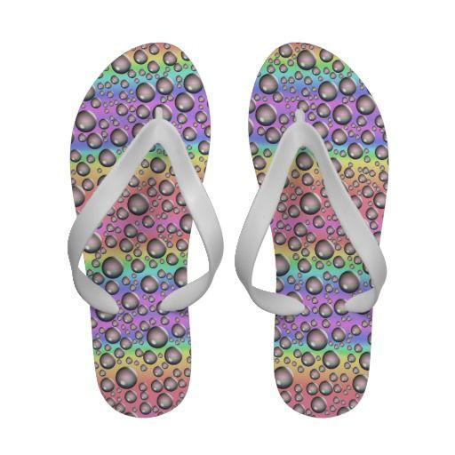 http://www.zazzle.com/rainbow_waterdrops_flip_flops-256780523193081167 Rainbow Waterdrops Flip Flops