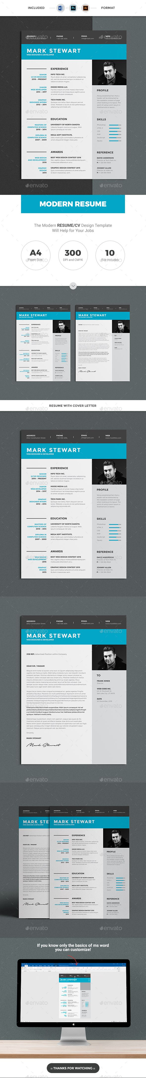 #Resume Word Template / CV Template with super clean and modern look. Clean Resume Template page designs are easy to use and customize, so you can quickly tailor-make your job resume for any opportunity and help you to get your job. This Infographic Resume CV Template is made in Adobe Photoshop, Illustrator format and very popular word processor, MS Word aka Microsoft Word.
