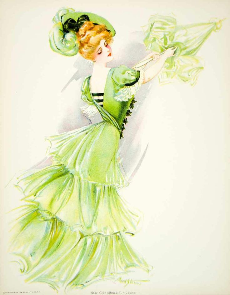 1907 Хромолитография Мод Штумм Showgirl короля Эдуарда Мода зеленый платье Театр | eBay