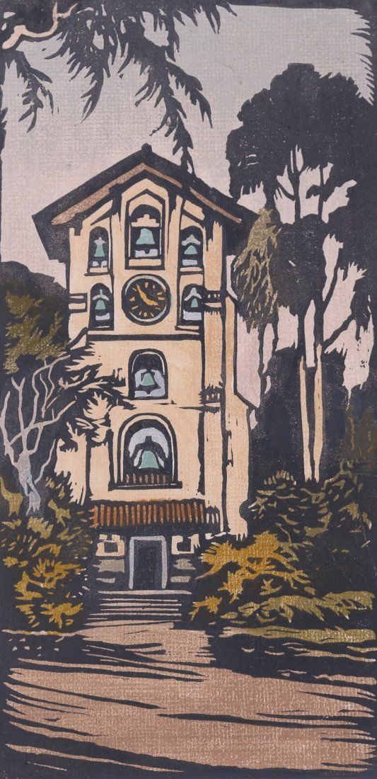 """William S. Rice color woodblock print entitled """"Campanile - Mills"""" Mills College, Oakland, CA. Image 12""""h x 6""""w, unframed."""