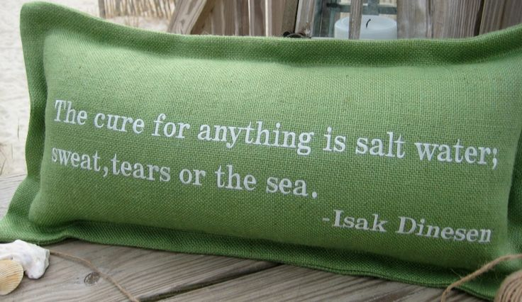 """The Cure For Anything Is Salt Water"" Pillow: Coastal Home Decor, Nautical Decor, Tropical Island Decor & Beach Furnishings"