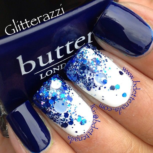 Navy Blue with White Glitter Gradient