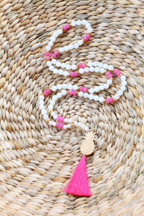 Pineapple Tassel Necklace  Pink Tassel Necklace by CAKEbyCHRISTINA