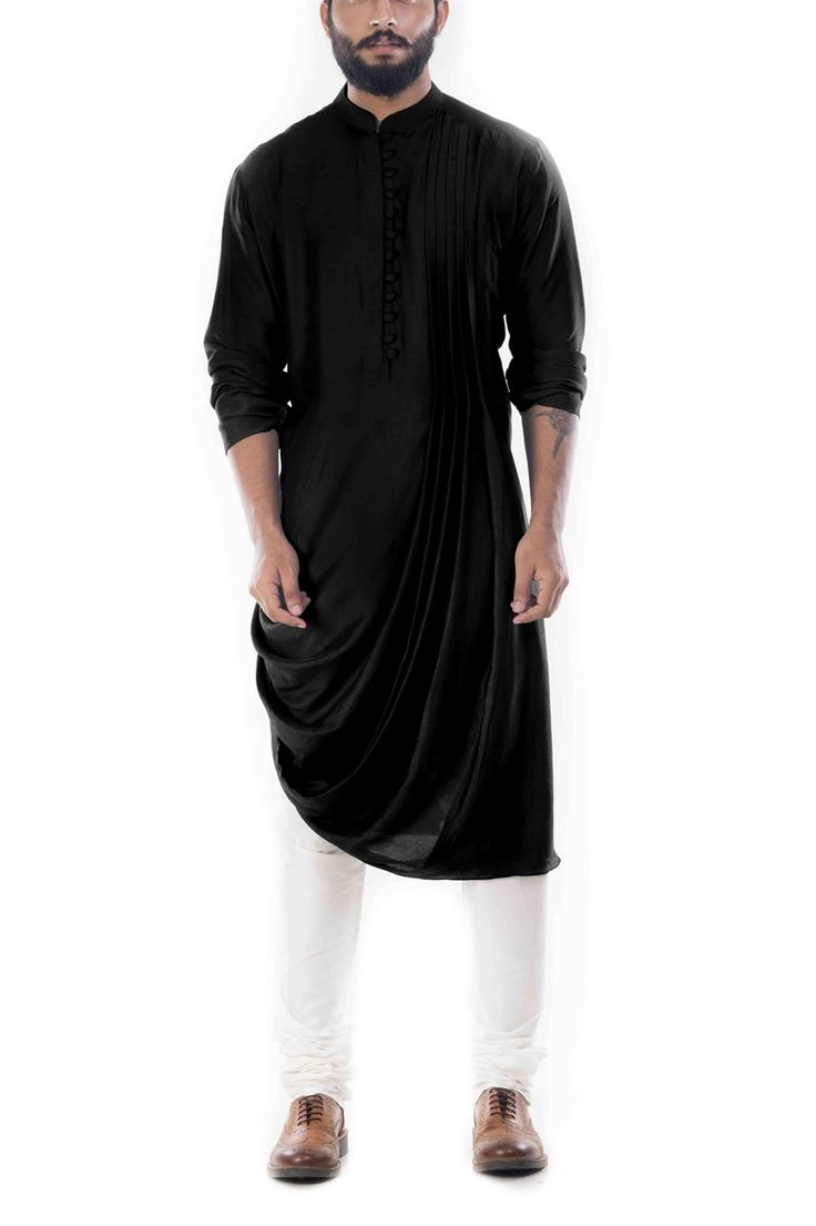 Online Fashion Store| Designer Clothing -Smritiapparels.com. Raven Black Cowl Drapped Kurta With Churidar Pants