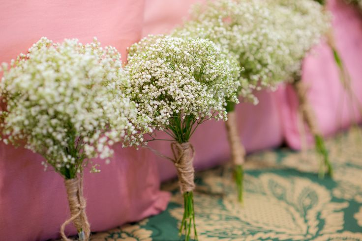 DIY Babys Breath bridesmaids bouquets | Ashley & Jon's Elegant Warehouse Wedding at the Annapolis Fairgrounds in Maryland | Images: Eastport Photography