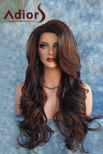 $13.08 Fashion Long Side Bang Brown Mixed Capless Fluffy Wave Synthetic Women's Adiors Wig